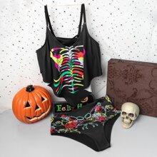 Bikini Badeanzug mit Halloween Skelett Muster und Zipfelsaum