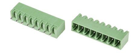 RS PRO , 8 Way, 1 Row, Vertical PCB Terminal Block Header (10)