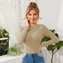 Mock Neck Rib-knit Solid Sweater