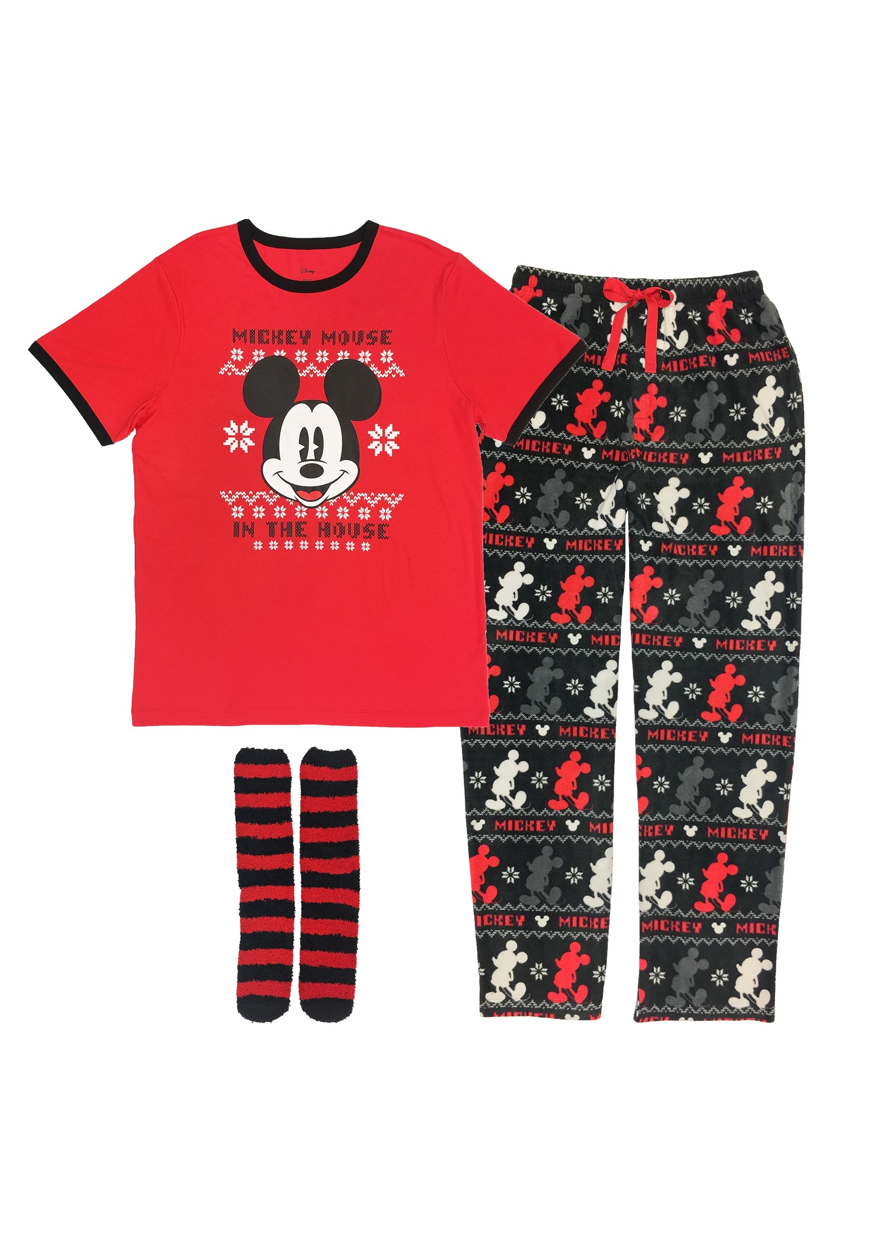 Mens Mickey Mouse Fair Isle Shirt, Plush Pants and Socks Set