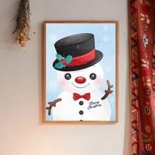 Pintura de pared con estampado de monigote de nieve sin marco