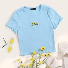Strick T-Shirt mit Sonnenblumen Stickereien und gekraeuseltem Saum