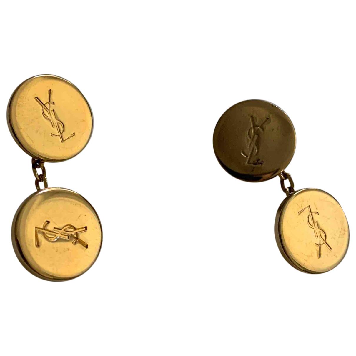 Yves Saint Laurent - Boutons de manchette   pour homme en acier - dore