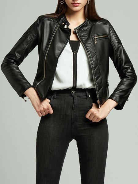 Milanoo Women Motorcycle Jacket PU Leather Stand Collar Long Sleeve Winter Jacket