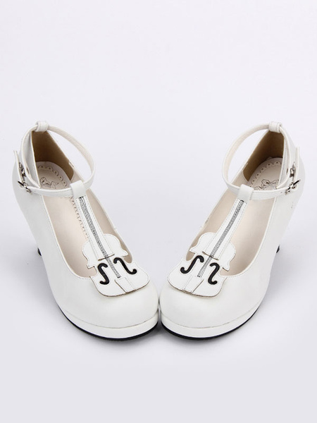 Milanoo White Lolita Shoes Round Toe T Strap Special Shaped Heel Lolita Shoes