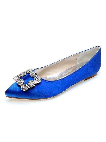Milanoo Wedding Shoes Satin Pointed Toe Flat Bridal Shoes