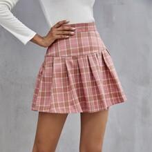 Button Side Tartan Pleated Skirt