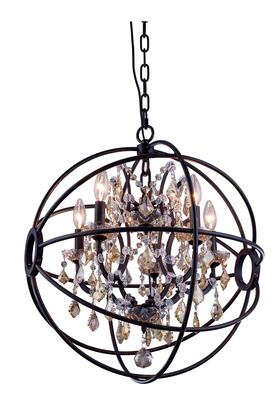 1130D20DB-GT/RC 1130 Geneva Collection Pendent Lamp D:20 H:23 Lt:5 Dark Bronze Finish (Royal Cut Golden Teak