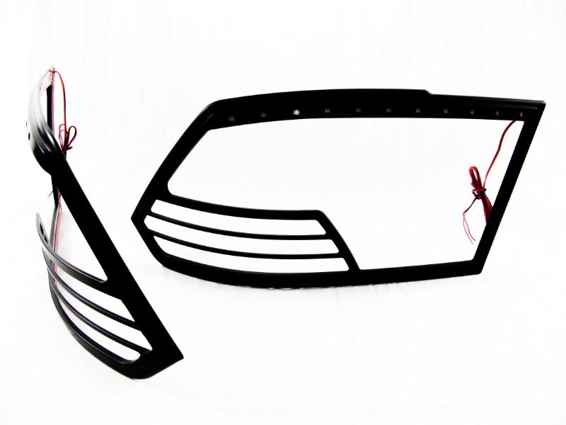 Race Sport Lighting RS-B0608RAM-HLB Matte Black LED Head Light Bezel Dodge Ram 1500 06-08 | Dodge Ram 2500 06-08 | Dodge Ram 3500 06-08