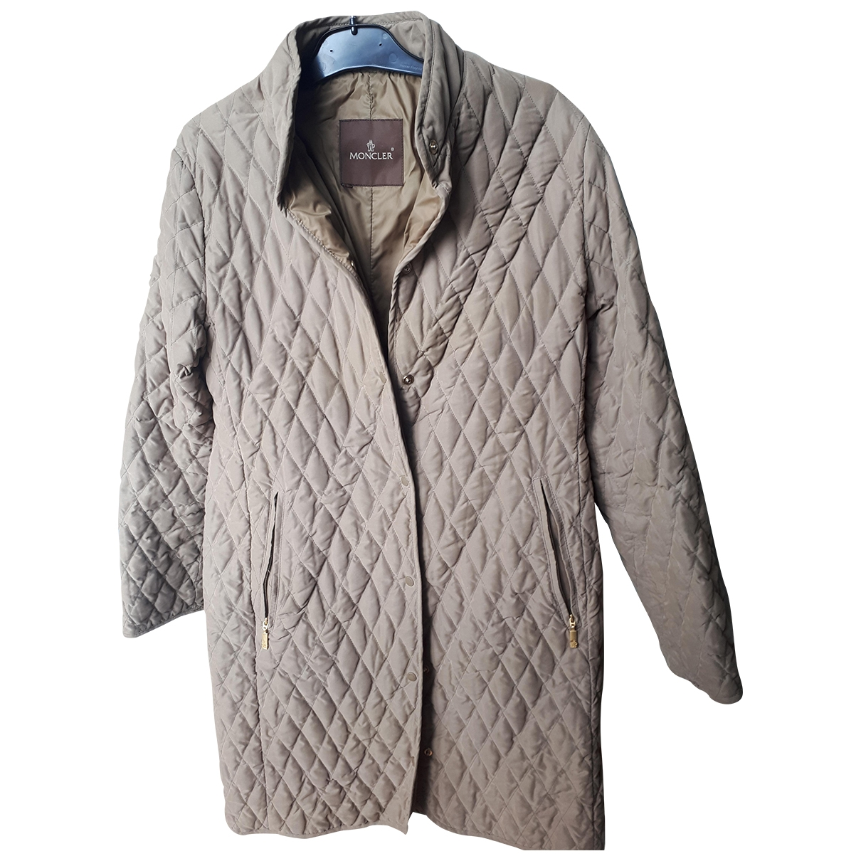 Moncler Long Maentel in  Kamel Polyester