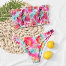 Bikini Badekleidung mit Batik und Rueschenbesatz