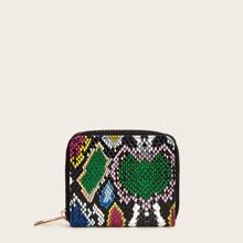 Brieftasche mit Schlangenleder Muster und Reissverschluss