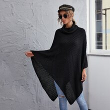 Funnel Neck Solid Poncho