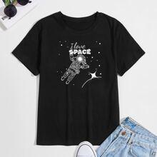 Men Slogan & Astronaut Print Tee