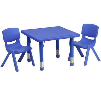 YUYCX Collection YU-YCX-0023-2-SQR-TBL-BLUE-R-GG Kids Activity Table Set with 2 Stackable Chairs  Adjustable Height Steel Legs  Safety Rounded
