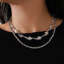 2 Stuecke Halskette mit Flamme Dekor