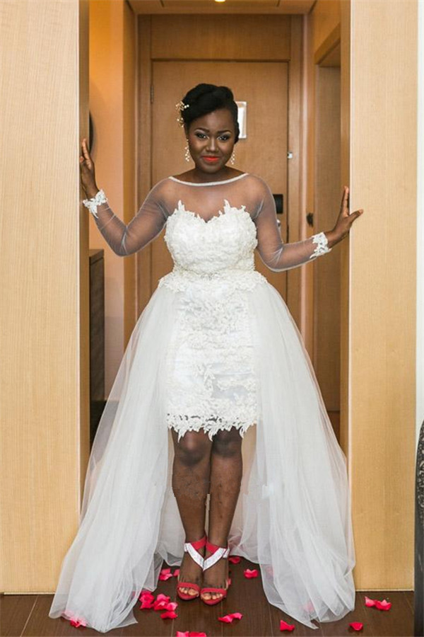 Long Sleeve Sheer Tulle Wedding Dresses Lace Open Back Overskirt Bridal Gowns
