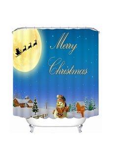 Cute Snowman Waving and Santa Shadow Printing Christmas Theme Bathroom 3D Shower Curtain