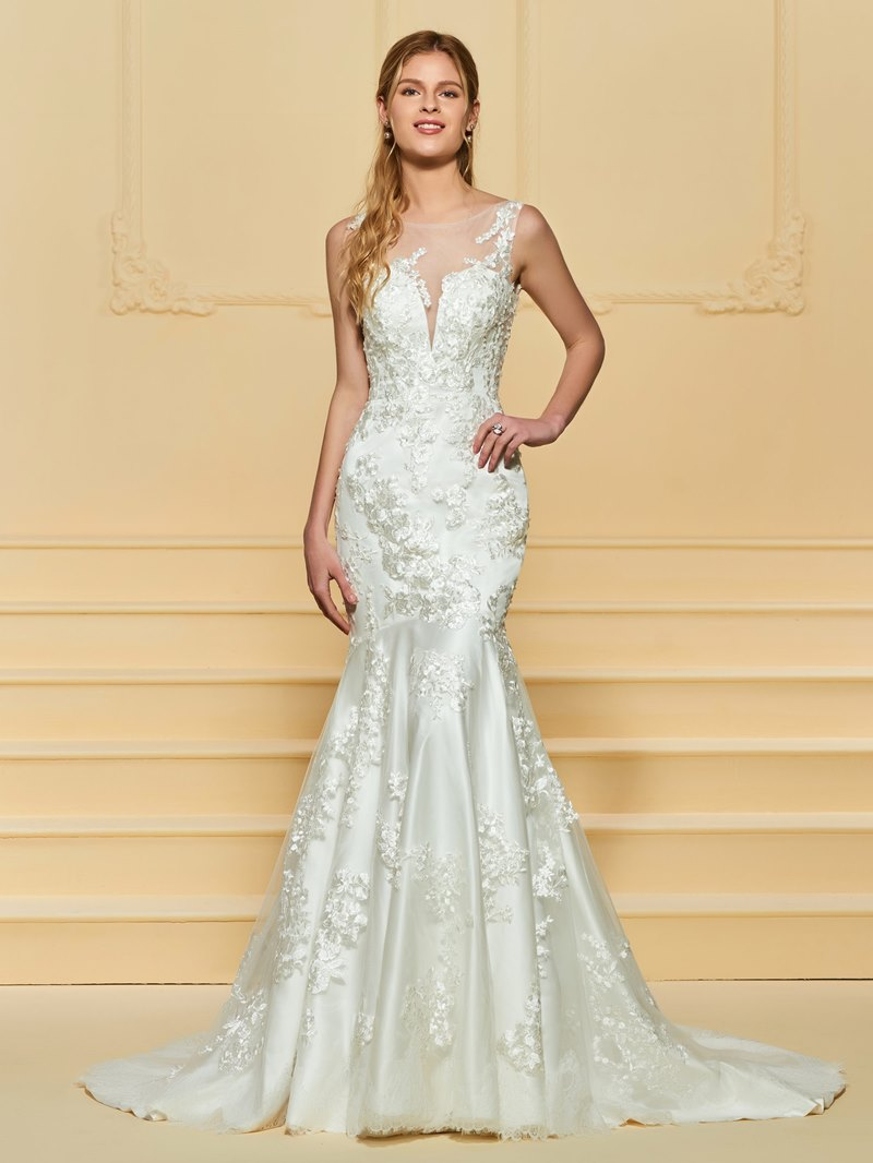 Ericdress Illusion Neckline Mermaid Appliques Wedding Dress