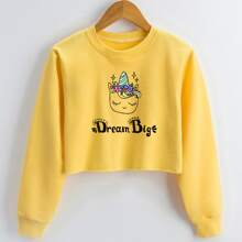 Toddler Girls Cartoon Unicorn And Slogan Graphic Sweatshirt