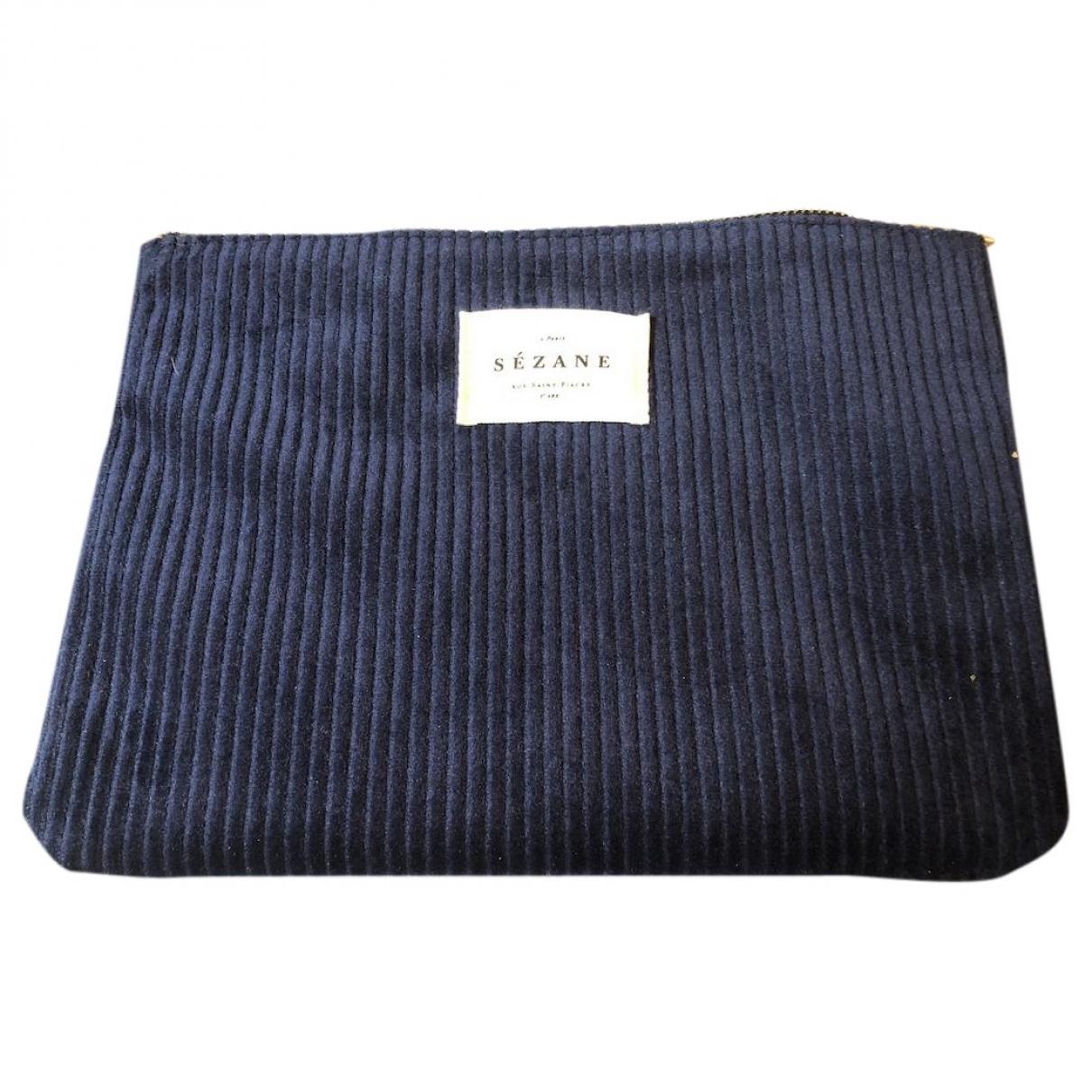 Sezane - Portefeuille   pour femme en velours - bleu