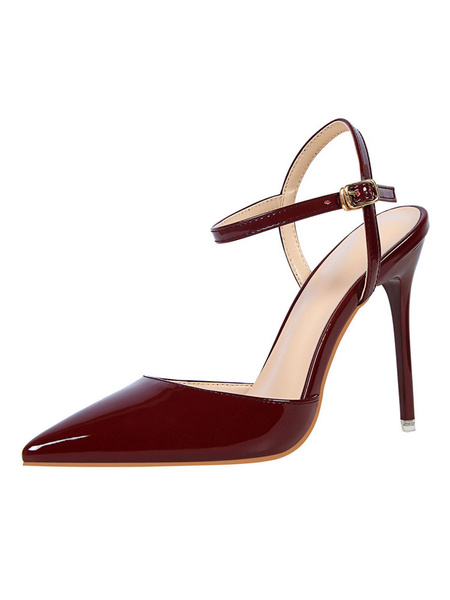 Milanoo Nude High Heels Pointed Toe Buckle Detail Slingbacks Pumps Women Dress Shoes