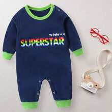 Baby Boy Slogan Graphic Jumpsuit