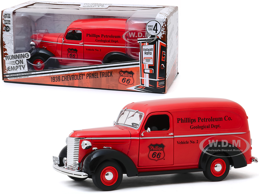 1939 Chevrolet Panel Truck Red Phillips 66 (Phillips Petroleum Co. Geological Dept.) Running on Empty Series 4 1/24 Diecast Model Car by Greenlig