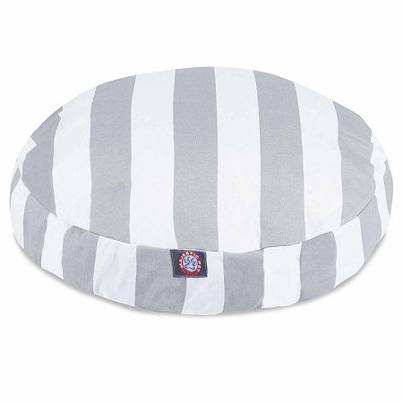 Majestic Pet Vertical Stripe Round Pet Bed, One Size , Gray
