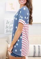 American Flag Star Striped T-Shirt Tee - Blue