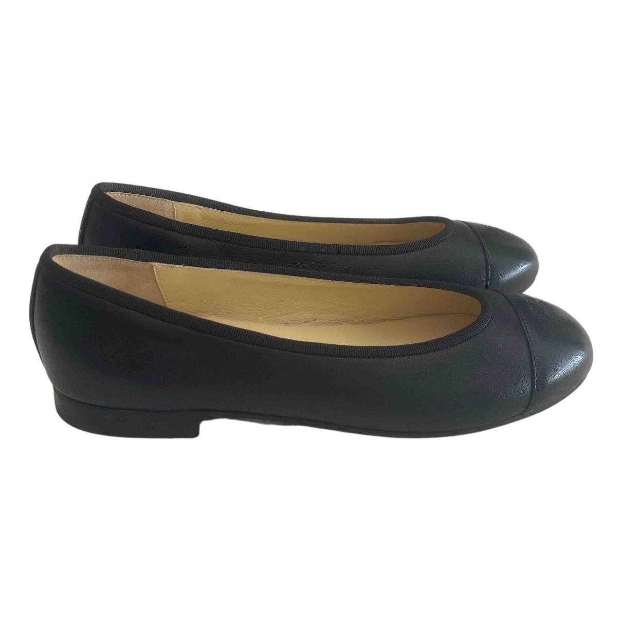 Chanel \N Black Leather Ballet flats for Women 37.5 EU