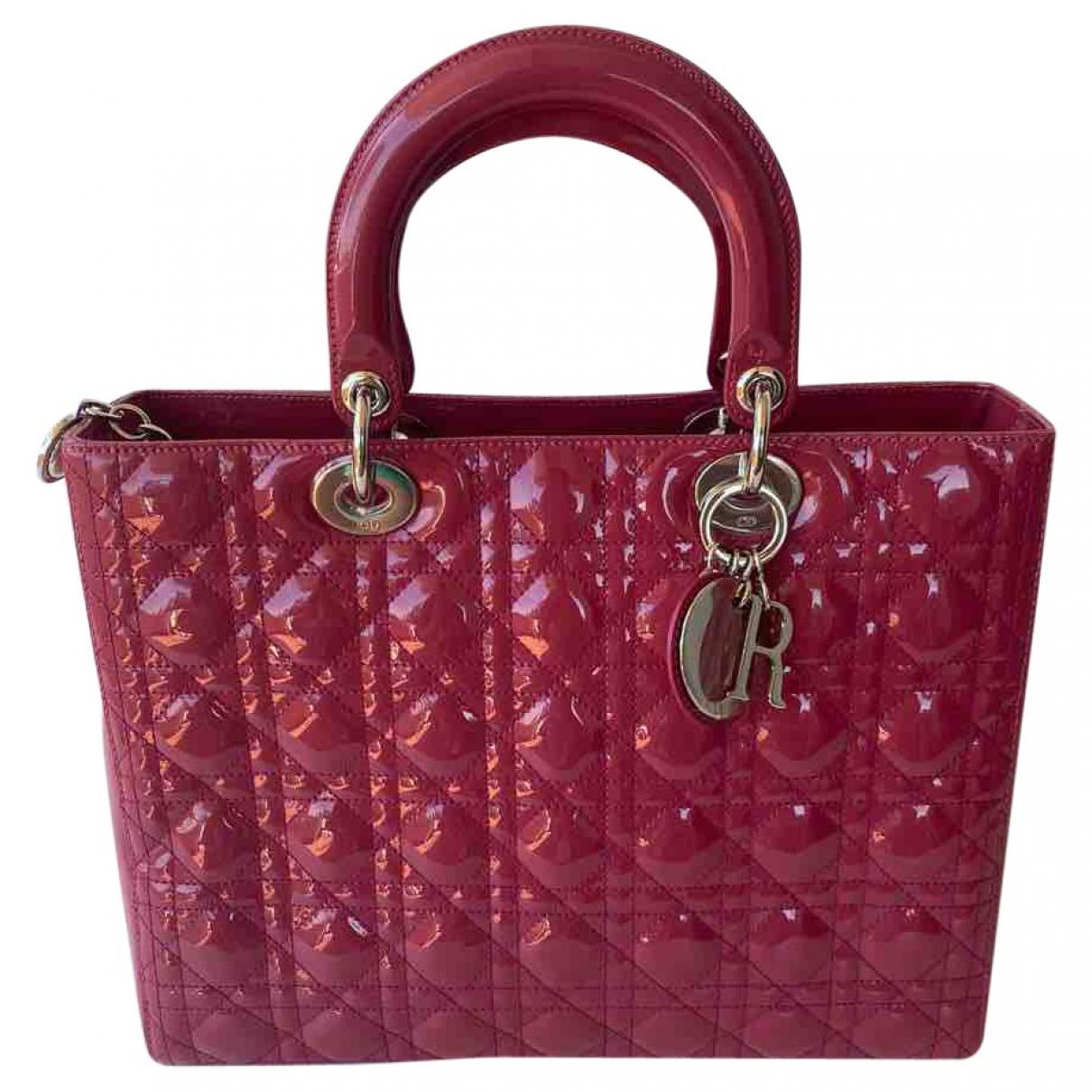 Dior Lady Dior Handtasche in  Rosa Lackleder