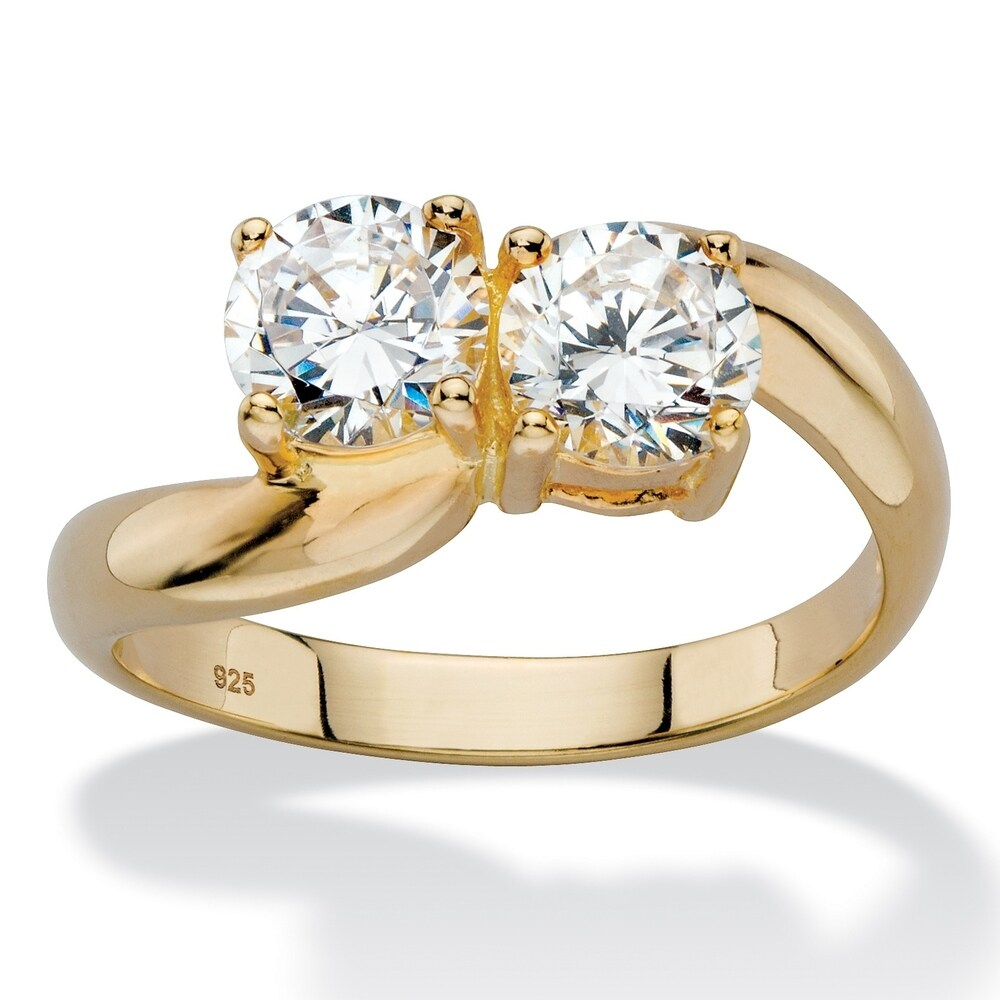 Yellow Gold over Sterling Silver Cubic Zirconia Ring - White (6)
