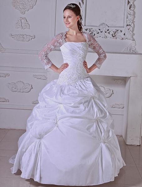 Milanoo White Ball Gown Pleated Taffeta Wedding Dress