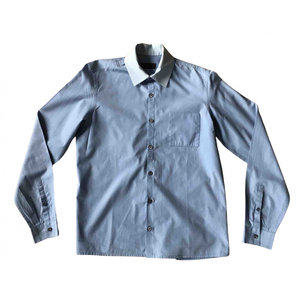 Prada N Blue Cotton Shirts for Men 39 EU (tour de cou / collar)