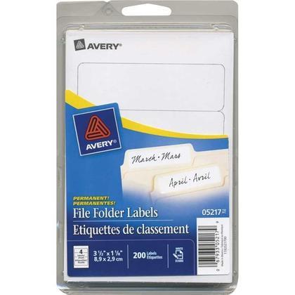 Avery@ Laser/Inkjet File Folder Labels - White, For handwriting, 3-1/2 x 1-1/8