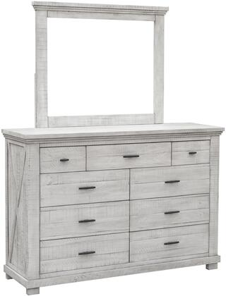 Crossing Barn Collection CF-4130_34-0786 9 Drawer Bedroom Dresser and Mirror in White
