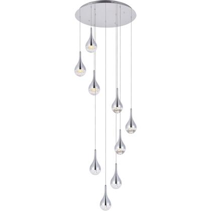 3809D24C Amherst Collection Led 9-Light Chandelier 24In X 9In Chrome
