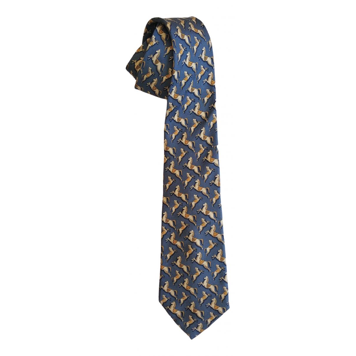 Salvatore Ferragamo \N Blue Silk Ties for Men \N