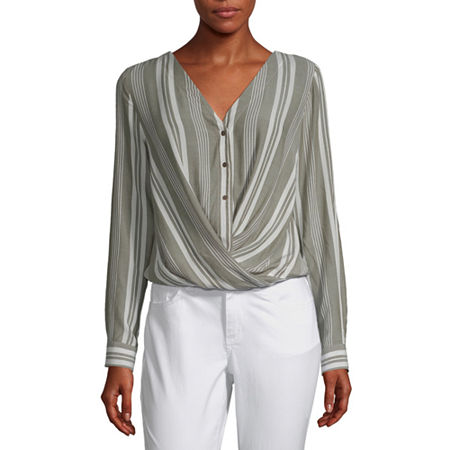 a.n.a Womens Long Sleeve Relaxed Fit Button-Down Shirt, X-large , Green