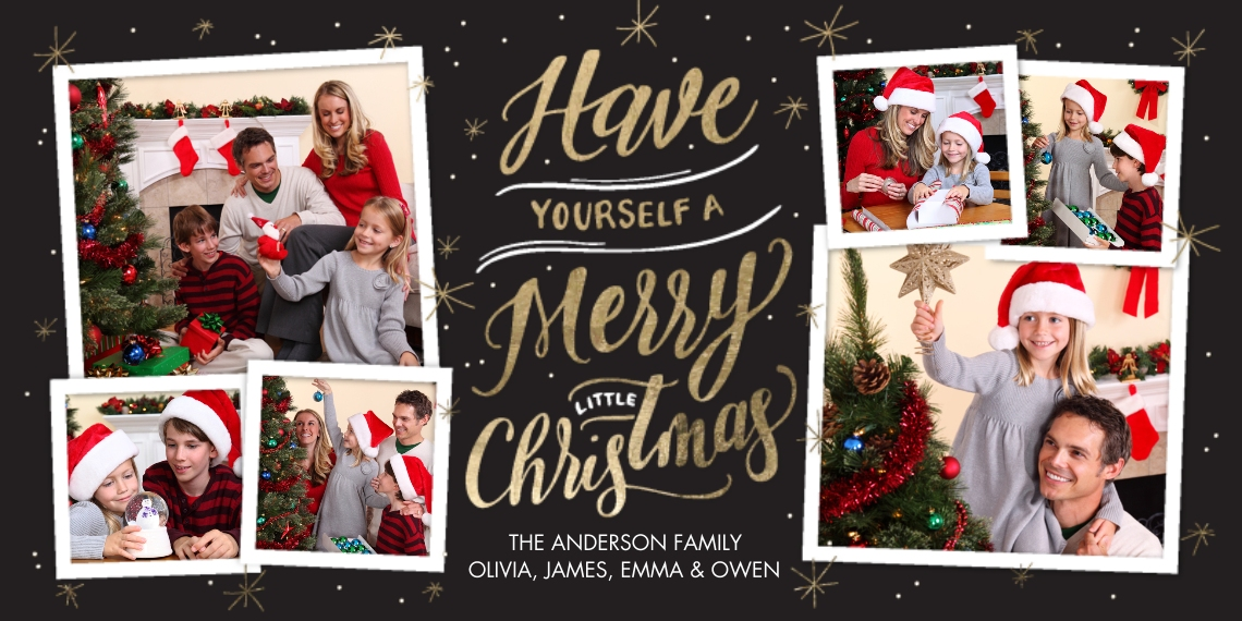 Christmas Photo Cards 4x8 Flat Card Set, 85lb, Card & Stationery -Christmas Gold Script