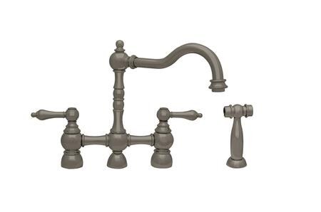 WHEGB-34656-BN Englishhaus bridge faucet with long traditional swivel spout  solid lever handles and solid side