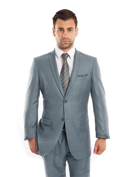 Mens Single Breasted Slim Fit Notch Lapel Smoke Blue Suit