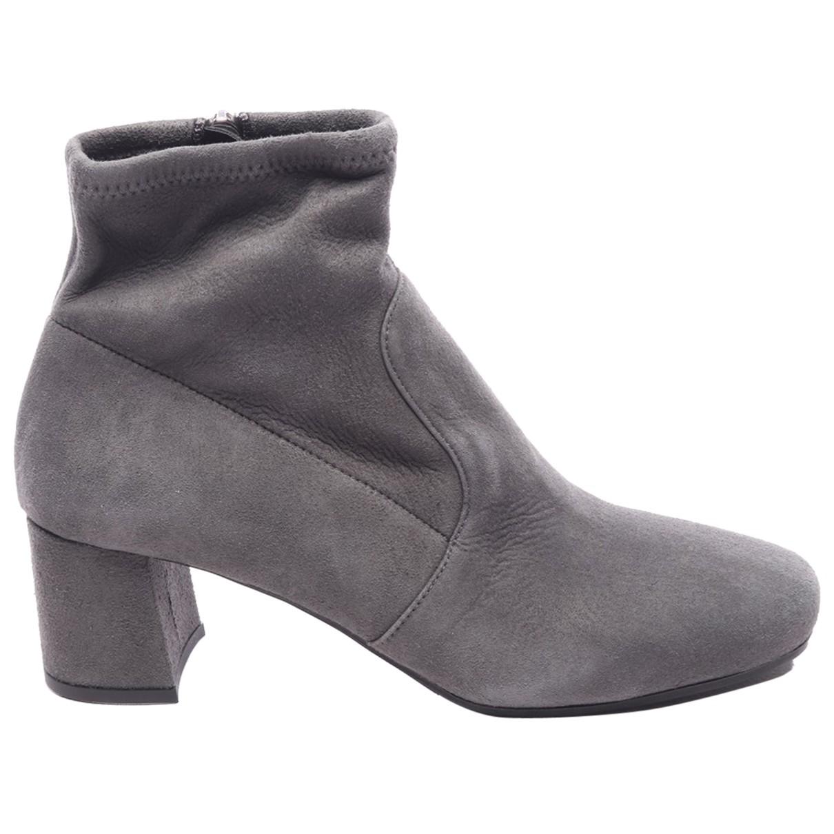 Prada - Boots   pour femme en cuir - gris