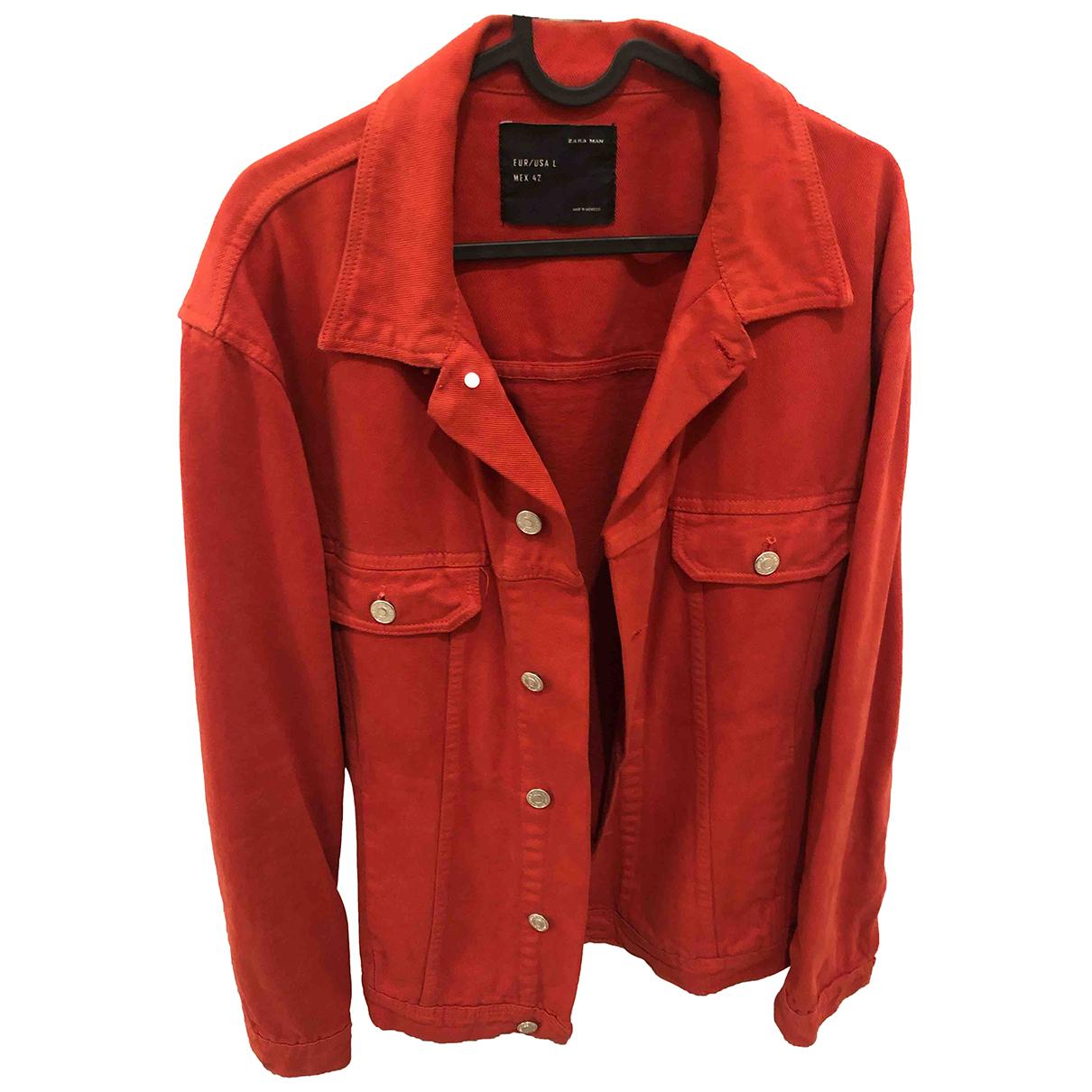 Zara - Vestes.Blousons   pour homme en denim - rouge