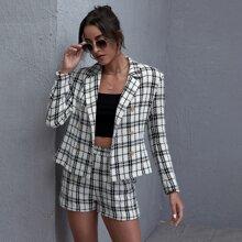 Double Button Front Tartan Blazer & Tweed Shorts Set