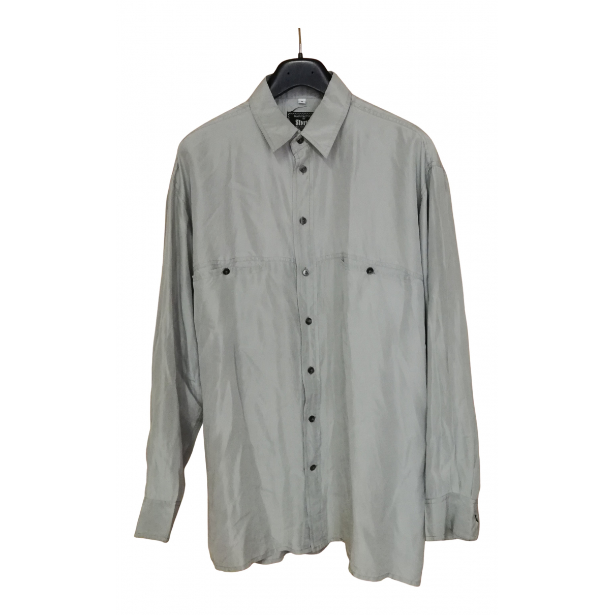Non Signé / Unsigned N Grey Silk Shirts for Men M International