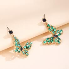 Rhinestone Inlaid Butterfly Drop Earrings
