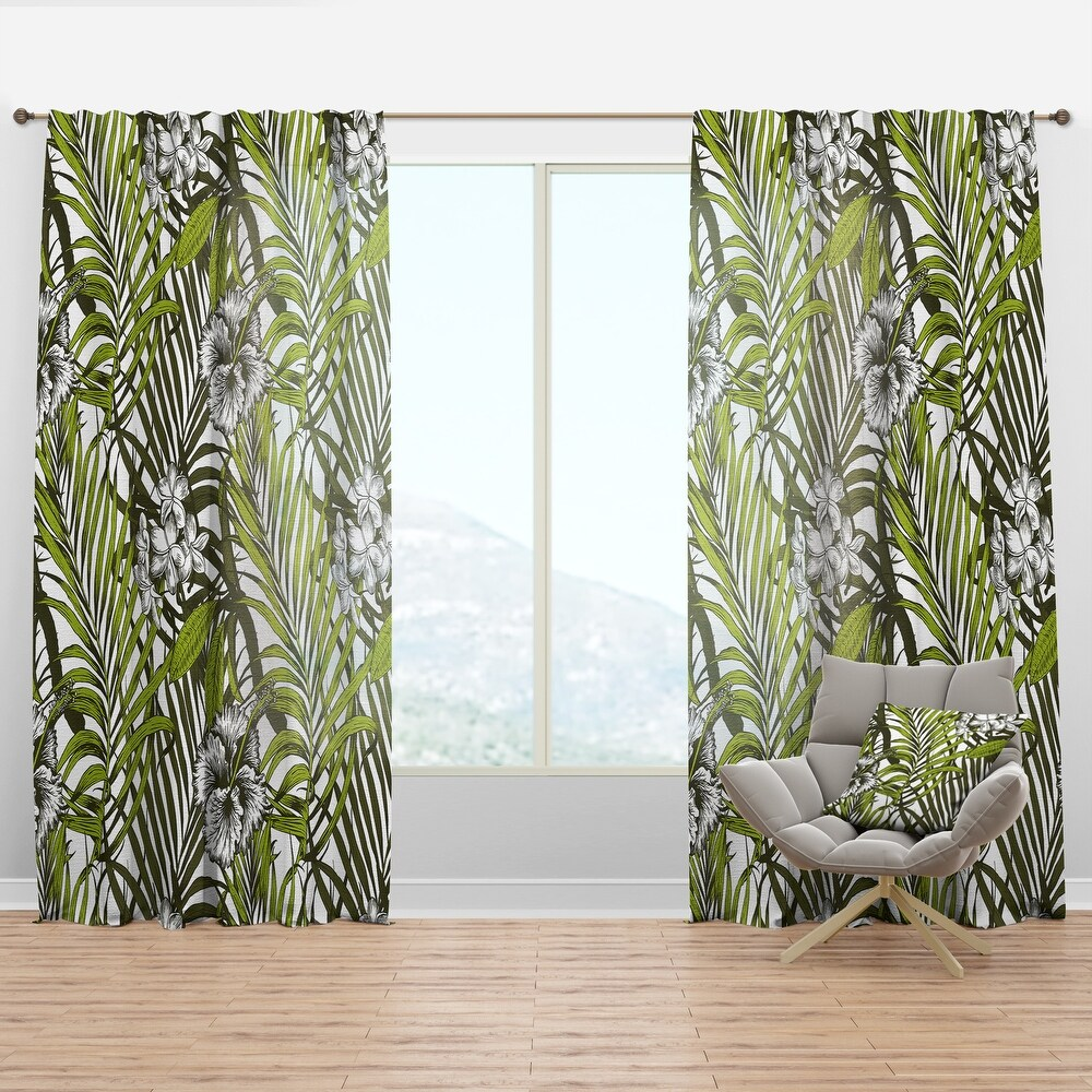 Designart 'Tropical Palm Leaves I' Mid-Century Modern Curtain Panel (50 in. wide x 63 in. high - 1 Panel)