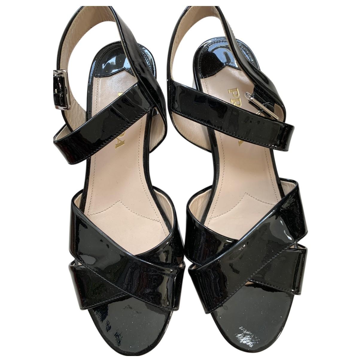 Prada N Black Patent leather Sandals for Women 37 EU